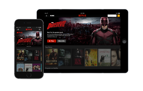 Netflix app on phone and tablet devices